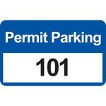 Brady 96246 Negro/Azul sobre blanco Rectángulo Vinilo Etiqueta de permiso de estacionamiento - Ancho 4 3/4 pulg. - Altura 2 3/4 pulg. - Imprimir números = 101 a 200