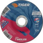 Weiler TIGER Óxido de aluminio Rueda de corte - Tipo 27 - rueda de centro hundido - 60 grano grado - Diámetro 5 pulg. - Agujero Central 7/8 pulg. - Grosor.045 pulg - 57043