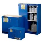 Justrite Haz-Alert 2 1/2 L Azul Gabinete de almacenamiento de material peligroso - Cierre manual - Parte superior del banco - Ancho 24 in - Altura 18 1/2 in - Parte superior del banco - 697841-00660