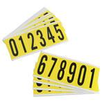 Brady Serie 34 3450-# KIT Negro sobre amarillo Paño de vinilo Kit de etiquetas de números - Interior - Ancho 1 1/2 pulg. - Altura 3 1/2 pulg. - 34552