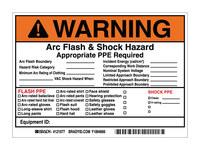 Brady 121077 Negro/Naranja sobre blanco Rectángulo Vinilo Etiqueta de arco eléctrico - Altura 5 in - B-7569