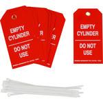 Brady 17924 Blanco sobre rojo Poliéster Etiqueta de estado de cilindro - Ancho 3 pulg. - Altura 5 3/4 pulg. - B-851