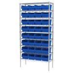 Akro-mils Shelfmax 2000 lb Ajustable Azul Cromo Acero Abierto Ajustable Sistema de estantería fijo - 32 gavetas - capacidad total 2000 lb - AWS143630080 BLUE