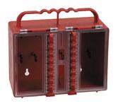 Brady Rojo Plástico Caja de almacenamiento de seguridad combinado 50937 - Ancho 8.5 pulg. - Altura 7.5 pulg. - Capacidad de Candado 12 - 754476-50937