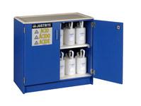Justrite Haz-Alert 2 1/2 L Azul Gabinete de almacenamiento de material peligroso - Cierre manual - Bajo la encimera - Ancho 36 in - Altura 35 3/4 in - Bajo la encimera - 697841-00662