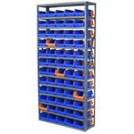 Akro-mils 6500 lb Ajustable Azul Gris Acero 22 ga Abierto Ajustable Sistema de estantería fijo - 60 gavetas - capacidad total 6500 lb - AS127936462B