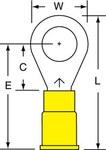 3M Scotchlok MV10-516R/SK Amarillo Soldado Vinilo Terminal de anillo soldado - Longitud 1.26 pulg. - Ancho 0.53 pulg.0.53 pulg. - 01926