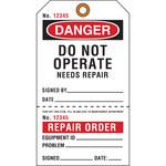 Brady 103665 Negro/Rojo sobre blanco Cartulina Etiqueta de mantenimiento - Ancho 4 pulg. - Altura 7 pulg. - 19355