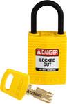 Brady SafeKey Amarillo Nailon 6 pines Candado de seguridad 150181 - Ancho 1 1/4 pulg. - Altura 1.65 pulg. - Número de llaves incluidas 1 - 754473-60996