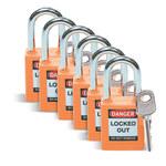 Brady Naranja Nailon 6 pernos Candado de seguridad con llave 123270 - Ancho 1 1/2 pulg. - Altura 1 3/4 pulg. - Número de llaves incluidas 1 - 754473-72025
