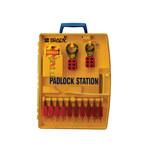 Brady Amarillo Polipropileno Estación de candados - Ancho 13.25 in - Altura 17 in - Capacidad de Candado 10 - 754476-03458