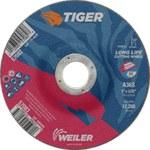 Weiler TIGER Óxido de aluminio Rueda de corte - Tipo 27 - rueda de centro hundido - 36 grano grado - Diámetro 5 pulg. - Agujero Central 7/8 pulg. - Grosor 3/32 pulg. - 57083