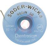Chemtronics Soder-Wick #80 Blanco Trenza de desoldadura de núcleo de fundente de colofonia - Longitud 5 ft - Diámetro 0.03 in -