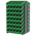 Akro-mils 1800 lb Verde Gris Acero 16 ga Doble cara Bastidor fijo - longitud total 36 3/4 in - 80 gavetas - Gavetas incluidas - APRD18098 GREEN