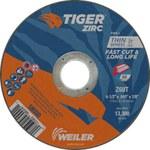 Weiler TIGER Zirconia Alumina Rueda de corte - Tipo 1 - Rueda recta - 60 grano grado - Diámetro 4 1/2 pulg. - Agujero Central 7/8 pulg. - Grosor.045 pulg - 58000