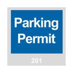 Brady 96231 Azul/Blanco sobre gris Cuadrado Vinilo Etiqueta de permiso de estacionamiento - Ancho 3 in - Altura 3 in - Imprimir números = 201 a 300