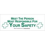 Brady B-555 Aluminio Rectángulo Cartel de conciencia de protección Blanco - 14 in Ancho x 5 in Altura - 124622