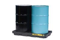 Justrite Negro/Azul Ecopolyblend 2500 lb 24 gal Tarima para derrames - Apoya 2 Barriles - Ancho 49 pulg. - Longitud 25 pulg. - Altura 5 1/2 pulg. - 28655