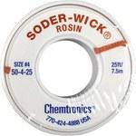 Chemtronics Soder-Wick #50 Azul Trenza de desoldadura de núcleo de fundente de colofonia - Longitud 25 pies - Diámetro 0.11 pulg. -