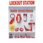 Brady Rojo/blanco Poliestireno Estación de dispositivo de bloqueo - Ancho 25 pulg. - Altura 30 pulg. - 754476-99693