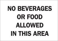 Brady B-555 Aluminio Rectángulo Cartel/anuncio de no comer ni beber Blanco - 10 in Ancho x 7 in Altura - 122417