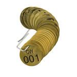 Brady 23256 Negro sobre cobre Círculo Latón Etiqueta para válvula numerada con encabezado - Ancho 1 1/2''de diámetro - Imprimir números = 1 a 25 - B-907