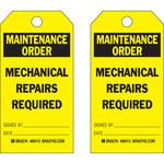 Brady 86413 Negro sobre amarillo Poliéster/papel Etiqueta de mantenimiento - Ancho 3 in - Altura 5 3/4 in - B-837