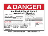Brady 121078 Negro/Rojo sobre blanco Rectángulo Vinilo Etiqueta de arco eléctrico - Altura 5 in - B-7569