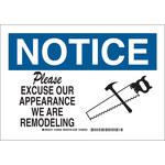 Brady B-555 Aluminio Rectángulo Cartel de aviso de remodelación Blanco - 10 pulg. Ancho x 7 pulg. Altura - 126930