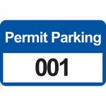 Brady 95207 Negro/Azul sobre blanco Rectángulo Vinilo Etiqueta de permiso de estacionamiento - Ancho 4 3/4 pulg. - Altura 2 3/4 pulg. - Imprimir números = 001 a 100