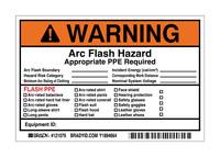 Brady 121079 Negro/Naranja sobre blanco Rectángulo Vinilo Etiqueta de arco eléctrico - Altura 4 in - B-7569