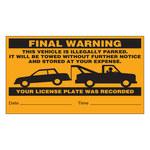 Brady 103662 Negro sobre naranja Papel Etiqueta de infracción de estacionamiento - Ancho 8 in - Altura 4 1/2 in - 19352