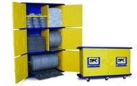 Brady Azul/Amarillo Gabinete de almacenamiento para absorbentes 107772 - Ancho 26 pulg. - Longitud 50 pulg. - Altura 7.75 pulg. - 662706-83157