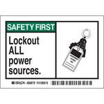 Brady 86879 Negro/Verde sobre blanco Rectángulo Poliéster Etiqueta de bloqueo/etiquetado - Altura 3 1/2 pulg. - B-302