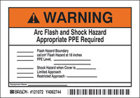 Brady 121072 Negro/Naranja sobre blanco Etiqueta de arco eléctrico - Altura 3 1/2 in - 70491