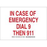 Brady B-555 Aluminio Rectángulo Cartel de emergencia 911 Blanco - 10 in Ancho x 7 in Altura - 127266