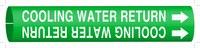 Brady 4043-F Blanco sobre verde Plástico Agua Marcador de tubería con correa con Flecha Derecha - B-915