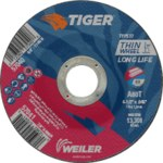 Weiler TIGER Óxido de aluminio Rueda de corte - Tipo 27 - rueda de centro hundido - 60 grano grado - Diámetro 4 1/2 pulg. - Agujero Central 7/8 pulg. - Grosor.045 pulg - 57041