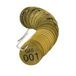 Brady 23264 Negro sobre cobre Círculo Latón Etiqueta para válvula numerada con encabezado - Ancho 1 1/2''de diámetro - Imprimir números = 1 a 25 - B-907