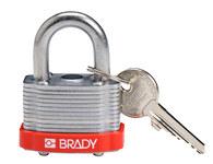 Brady Rojo Acero 5 pernos Candado de seguridad con llave 143126 - Ancho 1 5/16 in - Altura 1 1/5 in - Número de llaves incluidas 1 - 754473-20798