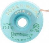 Chemtronics Soder-Wick #3 Verde Trenza de desoldadura de revestimiento de fundente de colofonia - Longitud 10 ft - Diámetro 0.08 in -