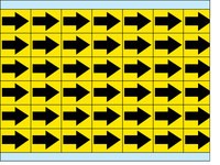 Brady EIA-3025-YL Amarillo sobre negro Paño de vinilo Flecha de inspección impresa - Altura 1/4 pulg. - B-500