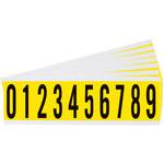 Brady Serie 34 3440-# KIT Negro sobre amarillo Paño de vinilo Kit de etiquetas de números - Interior - Ancho 7/8 pulg. - Altura 2 1/4 pulg. - 34452
