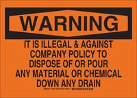 Brady B-555 Aluminio Rectángulo Señal de eliminación de productos químicos Naranja - 14 pulg. Ancho x 10 pulg. Altura - 16137