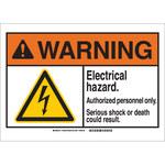 Brady B-555 Aluminio Rectángulo Cartel de seguridad eléctrica Blanco - 10 pulg. Ancho x 7 pulg. Altura - 144627