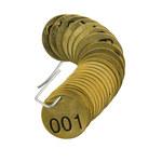 Brady 23200 Negro sobre cobre Círculo Latón Etiqueta para válvula numerada - Ancho 1 1/2''de diámetro - Imprimir números = 1 a 25 - B-907