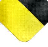Wearwell 720 Negro (bordes amarillos) Nitricell/Vinilo Tapete de trabajo no conductivo - Ancho 3 pies - Longitud 5 pies - 715411-00346