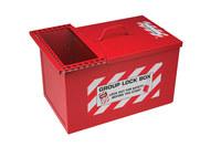 Brady Blanco sobre rojo Acero Caja de almacenamiento de seguridad combinado 105717 - Ancho 9 pulg. - Altura 9 pulg. - Capacidad de Candado 125 - 754476-03774