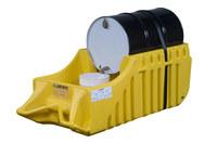 Justrite Amarillo Ecopolyblend 1250 lb 66 gal Carrito para contención de derrames - Ancho 32 in - Longitud 72 in - Altura 26 in - 697841-13450