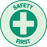 Brady 102026 Verde sobre plateado Círculo Etiqueta de casco - 01115